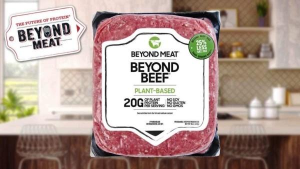 Beyond Meat führt vegetarisches Rinderhackfleisch mit höherem Proteingehalt als Fleisch ein produkt packung us amerikanisch