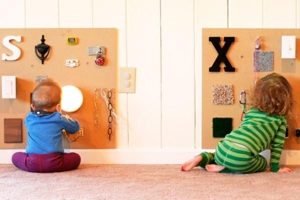 DIY Spielzeuge activity board selbst bauen Kinderspiele drinnen