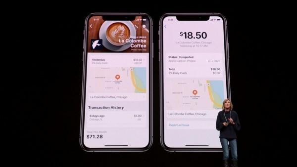Die Apple Card ist eine neue Kreditkarte, die Sie mit Apple Pay benutzen können zeigt einkäufe an auf karte
