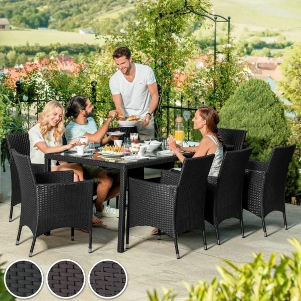 Gartenmöbeltrends 2019 – mit Rattan alles richtig machen esstisch mit stühlen schwarz veranda