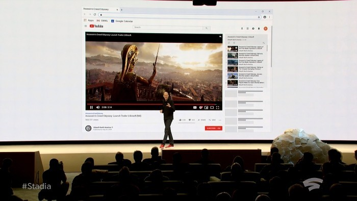 Mit Google Stadia können Sie jederzeit von jedem Gerät aus Streamen und Triple A-Spiele spielen trailer anschauen und dann sofort das spiel spielen