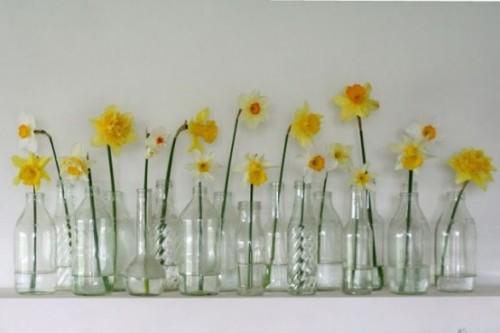 Narzissen Deko Ideen in Behältern aus Glas