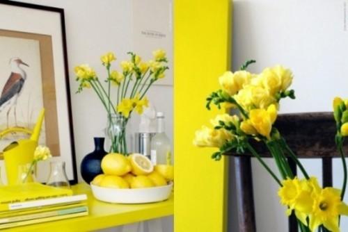 Narzissen Deko Ideen viel Gelb im Interieur