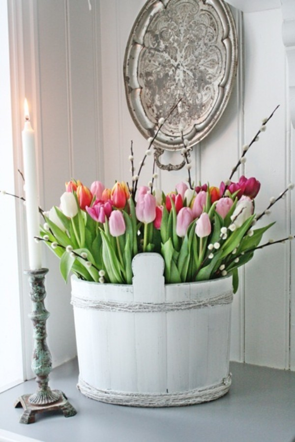 Tulpen im Interieur mehrfarbige Blüten im Kübel