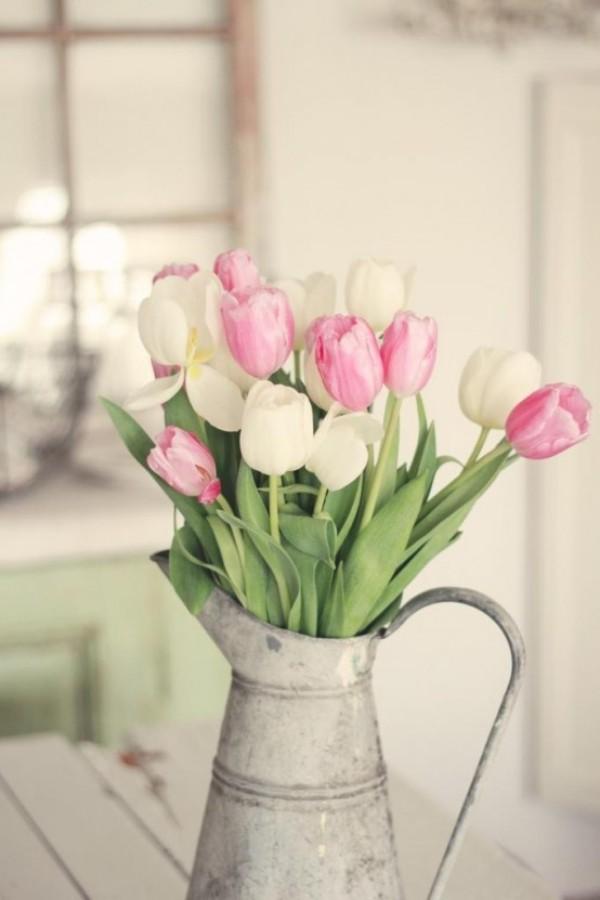 Tulpen im Interieur zarte Blüten in Retro Gießkanne