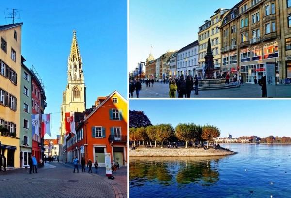 Urlaub in Konstanz – kennzeichnende Destinationen der größten Stadt am Bodensee konstanz collage grußkarte kirche und bdensee