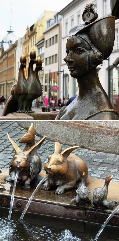 Urlaub in Konstanz – kennzeichnende Destinationen der größten Stadt am Bodensee satirischer kaisebrunnen hasen und pfau