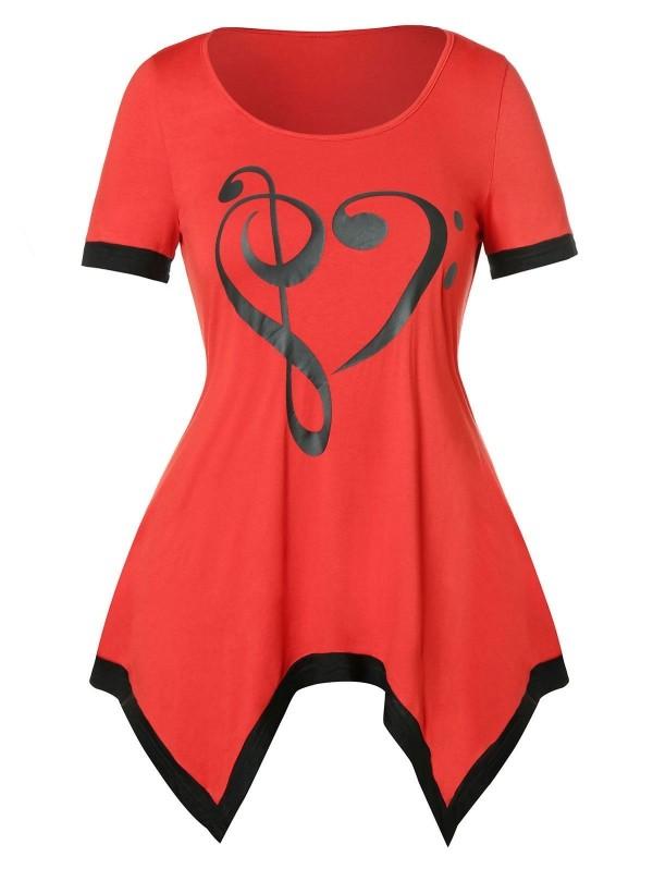 bedruckte T-Shirts rotes Kleid