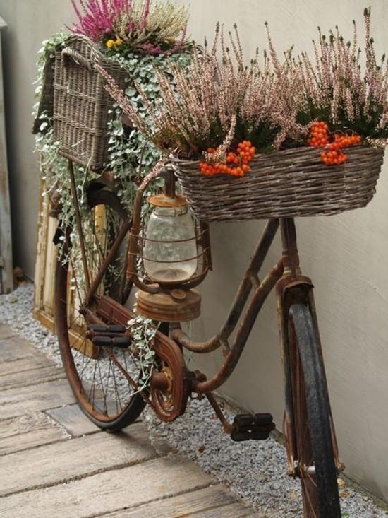 fahrrad gartendeko selber machen upcycling idee