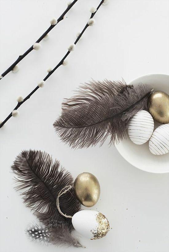 feder goldene eier osterdeko ideen
