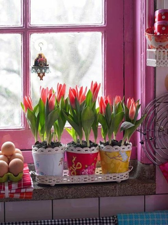 fensterbank deko ideen mit tulpen