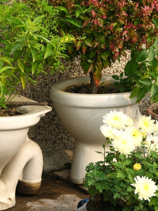 gartendeko selber machen aus toilettenschüssel
