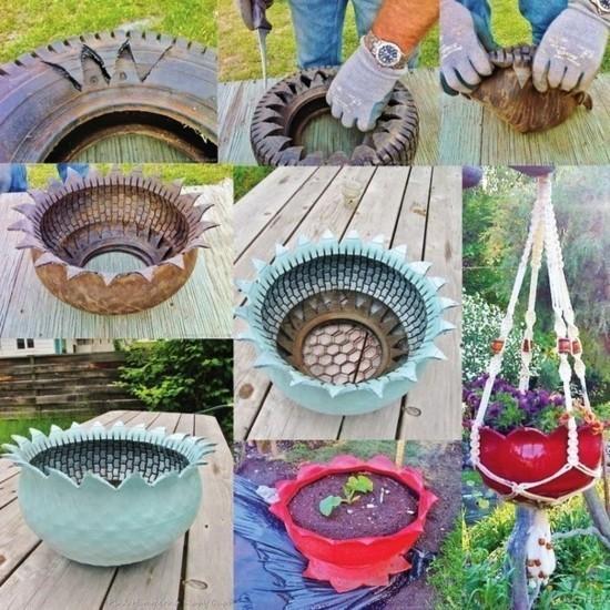 gartendeko selber machen pflanzkübel aus autoreifen