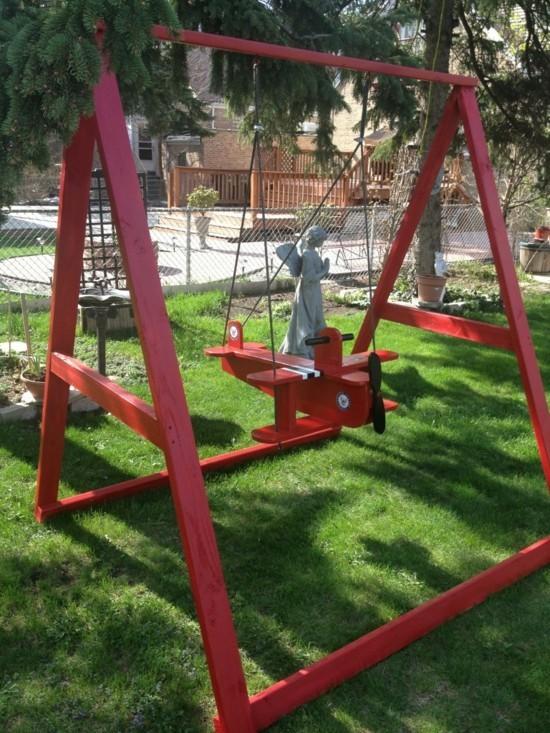 gartenschaukel kinder selber bauen kinderschaukel holz flugzeug