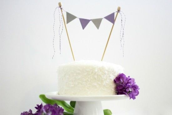 lila grau wimpelkette kuchengirlande selber machen