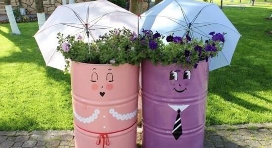 lustige gartendeko ideen mit containers