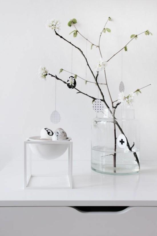 minimalistische osterdeko ideen mit ostereiern