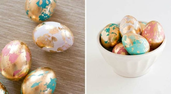 ostereier marmorieren gold akzente