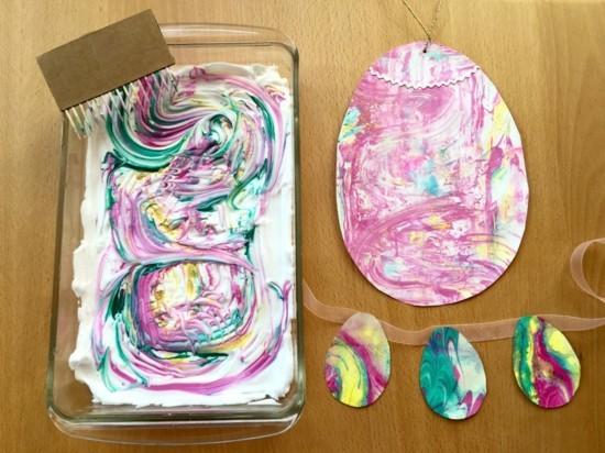 rasierschaum farben eier marmorieren osterbasteleien
