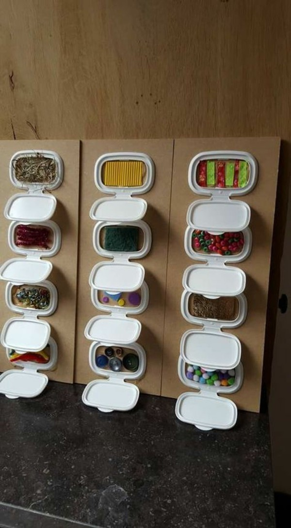 sensorik wand coole Spielzeuge activity board selbst bauen