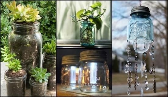 upcycling gartendeko selber machen mit gläsern