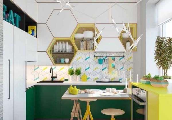 wandgestaltung gelbe und grüne ideen