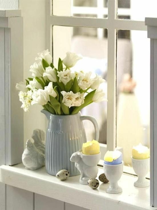 weiße tulpen fensterbank deko ostern