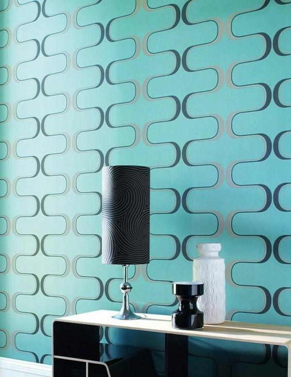 wellenmuster geometrisch retro design tapeten