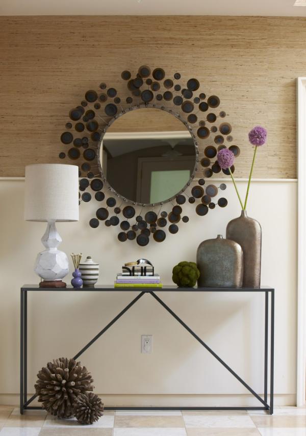 Dekorative Wandspiegel im Flur runde Form