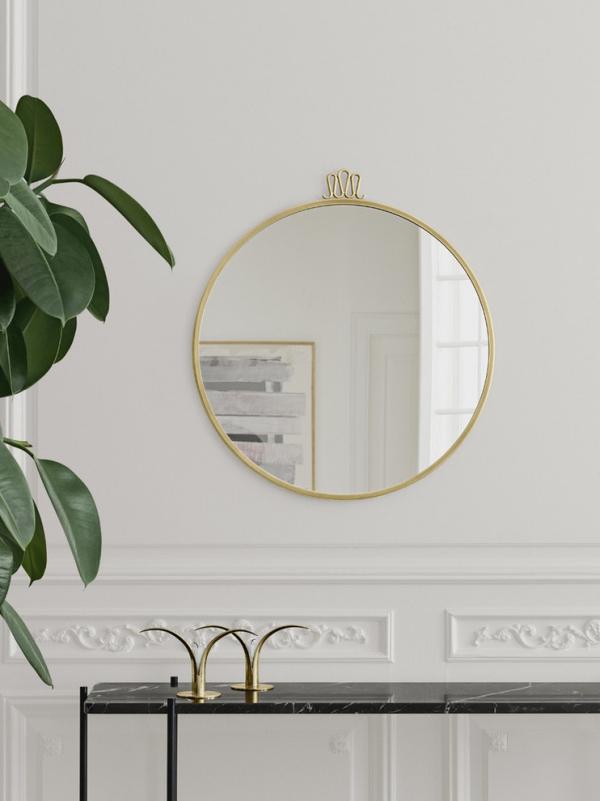 Dekorative Wandspiegel im Flur schlichtes modernes Design runder Spiegel Goldrahmen