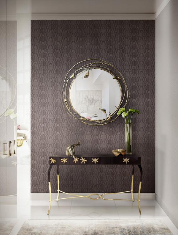 Dekorative Wandspiegel im Flur sehr ansprechendes Design runder Spiegel dunkler Hintergrund