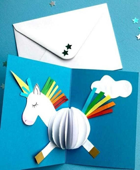 Einhorn Einladungskarten selbst gestalten 3D Idee