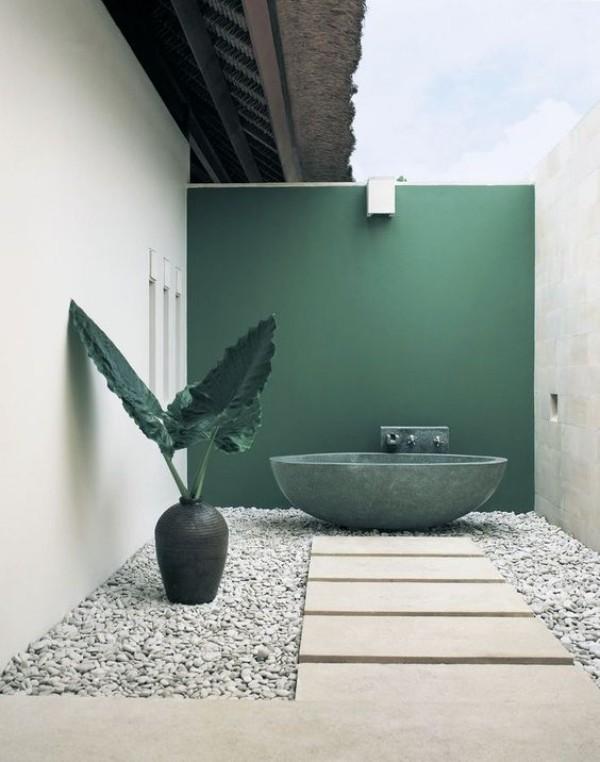 Gartendusche Outdoor-Bad erhabenes Design in Smaragdgrün weiße Kieselsteine