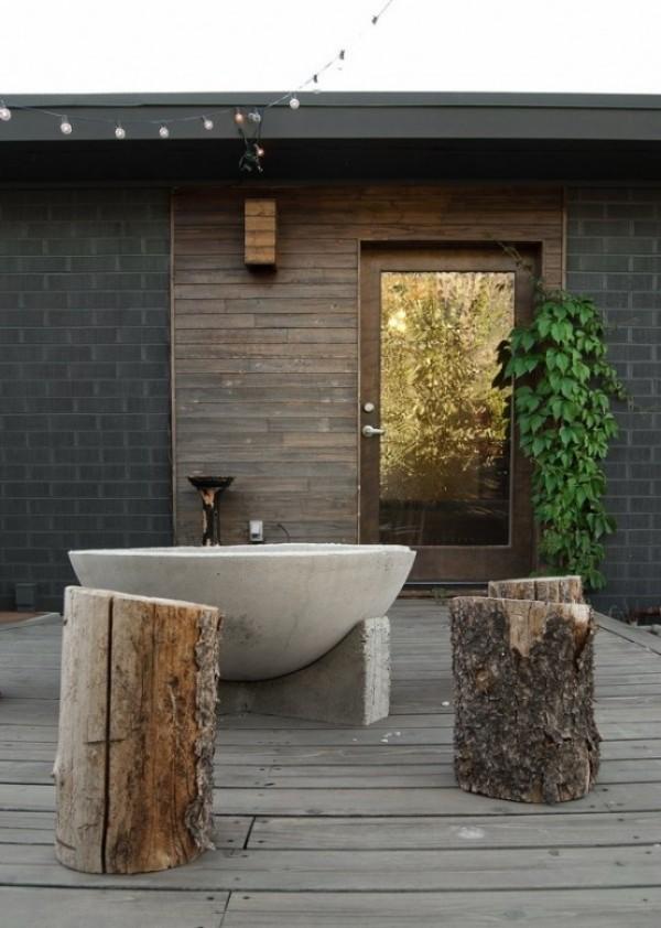 Gartendusche Outdoor-Bad rustikal und modern zugleich