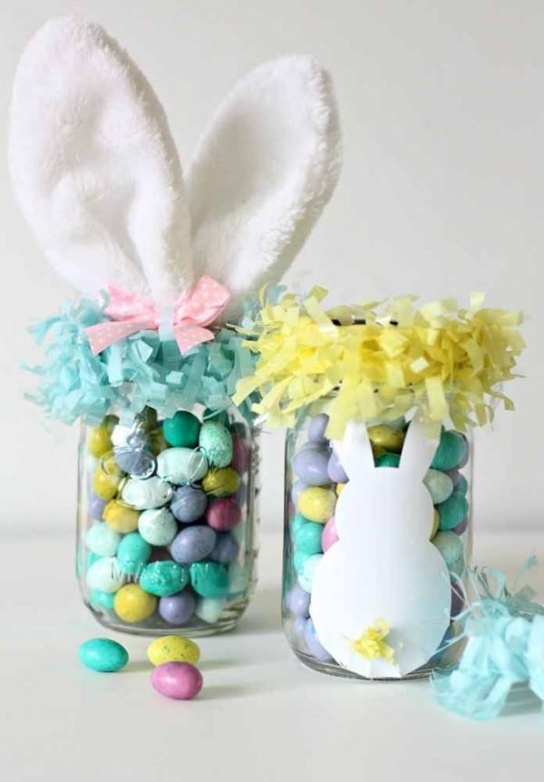 Glas mit Hasen und Eiern Ostern Geschenke