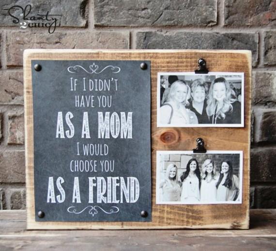 Muttertagsgeschenke basteln DIY Bilderrahmen Holz