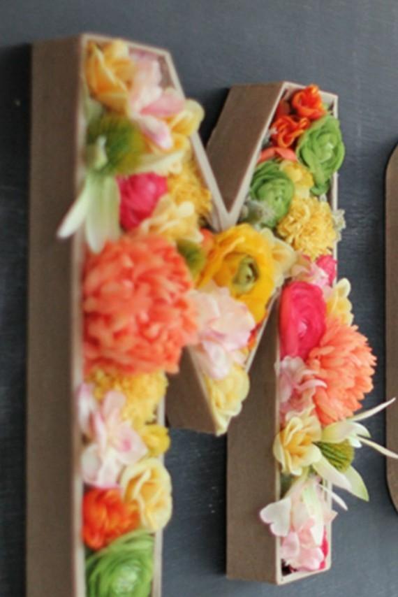 Muttertagsgeschenke basteln DIY Buchstabe M Blumen