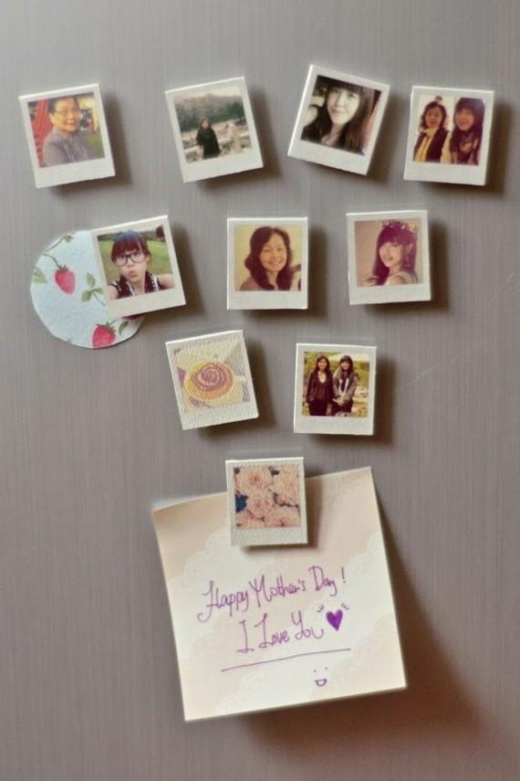 Muttertagsgeschenke basteln DIY Foto Magneten