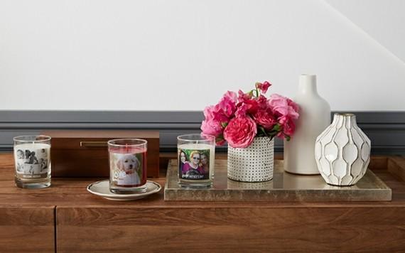 Muttertagsgeschenke basteln DIY Kerzen mit Familienfotos