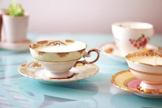 Muttertagsgeschenke basteln DIY Kerzen Kaffeetassen