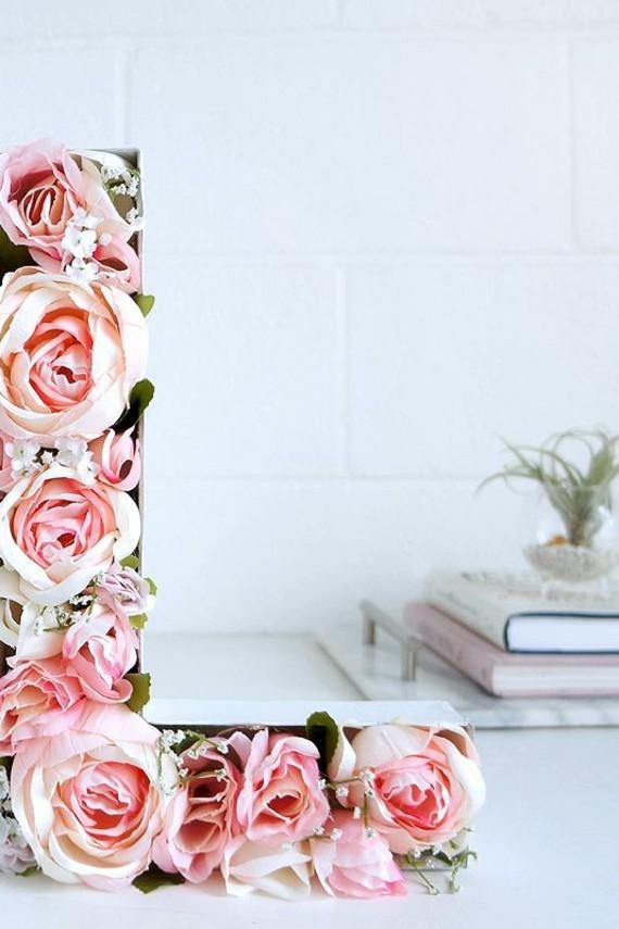 Muttertagsgeschenke basteln DIY L Buchstabe Blumen