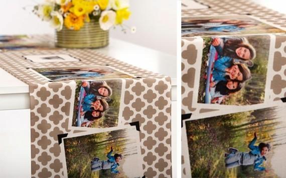 Muttertagsgeschenke basteln DIY Tischläufer mit Fotos