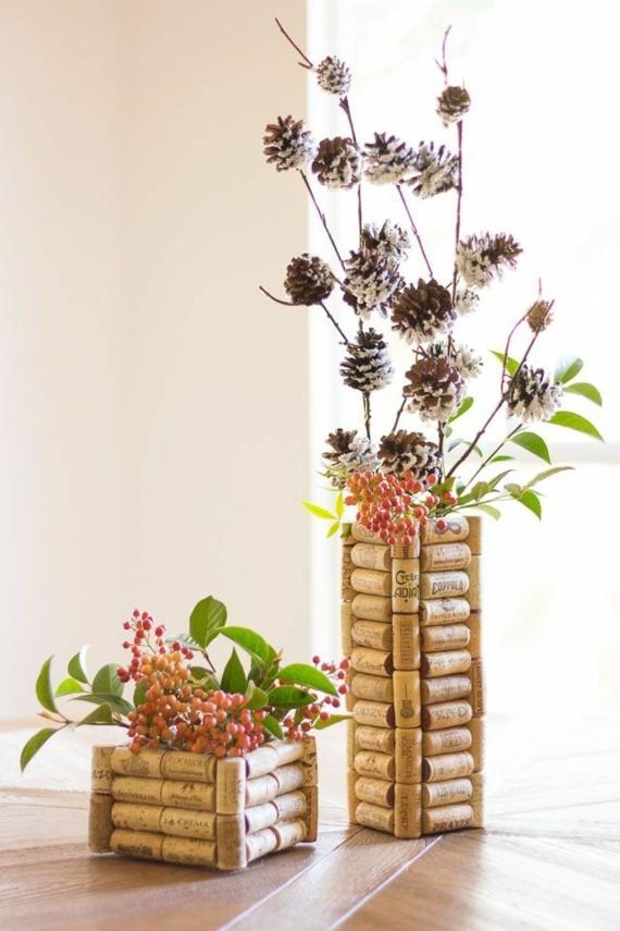 Muttertagsgeschenke basteln DIY Vasen aus Kork