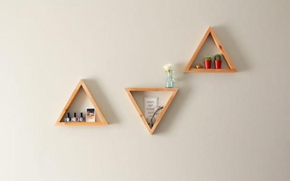 Muttertagsgeschenke basteln DIY Wandregale Dreieck