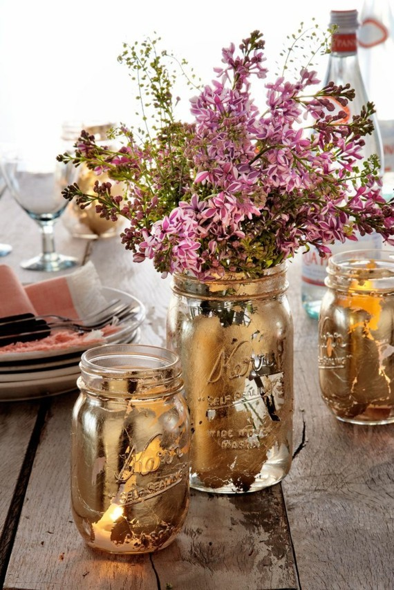 Muttertagsgeschenke basteln DIY goldene Vasen Einweckgläser