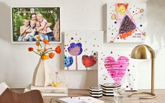 Muttertagsgeschenke basteln Kinderzeichnungen Canvas Fotos