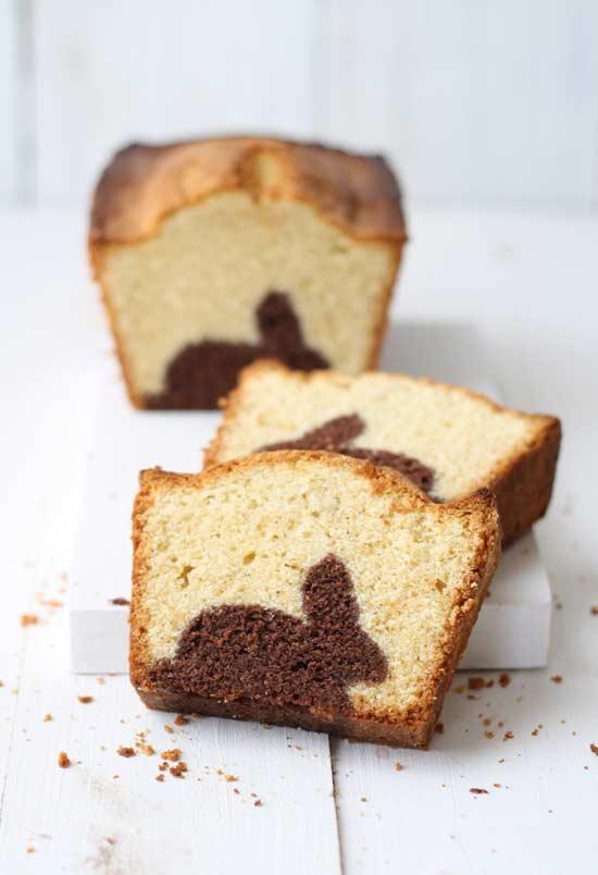 Osterdeko Marmorkuchen mit Hasen