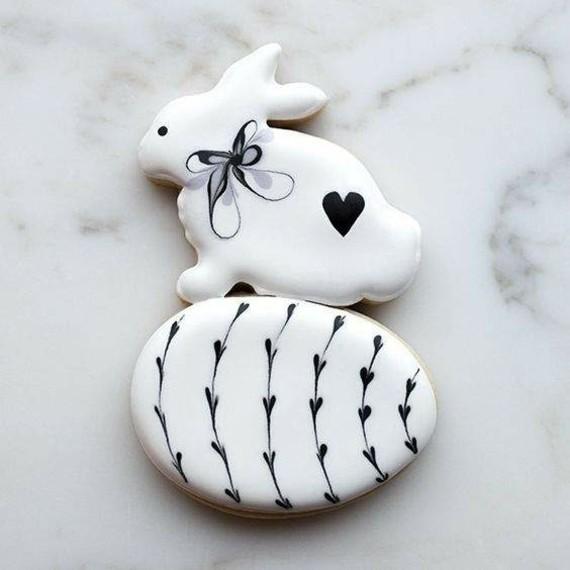 Osterhasen backen Osterhasen Kekse Zuckerguss schwarz weiß