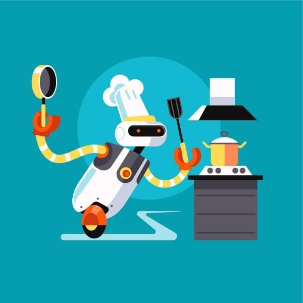 Roboter Köche werden bald unser Brot backen, Kaffee brauen und Salat machen comic lustiger koch robo