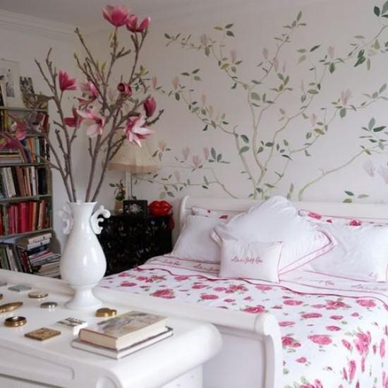Schlafzimmer Ideen florale Muster überall